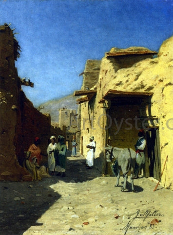 Rudolph Gustav Muller An Arab Street - Hand Painted Oil Painting