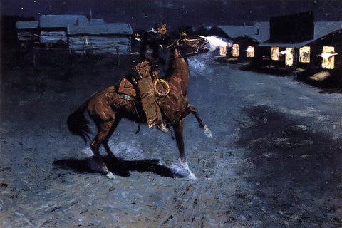 Frederic Remington An Arguement with the Town Marshall - Hand Painted Oil Painting