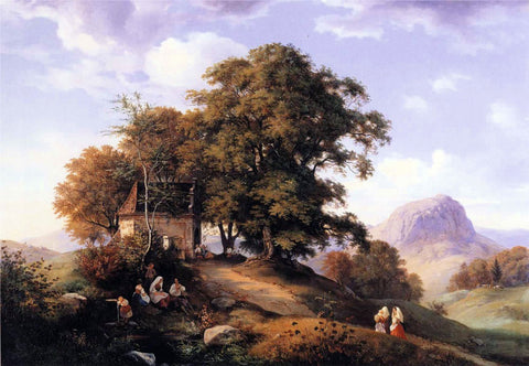 Ernst Ferdinand Oehme An Autumn Afternoon near Bilin in Bohemia - Hand Painted Oil Painting