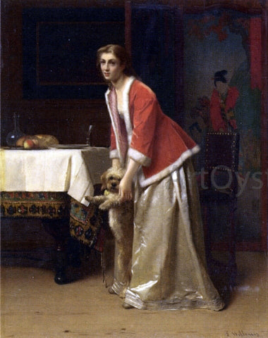 Florent Willems An Elegant Lady with Her Dog in an Interior - Hand Painted Oil Painting