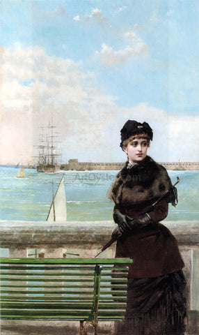 Vittorio Matteo Corcos An Elegant Woman at St. Malo - Hand Painted Oil Painting