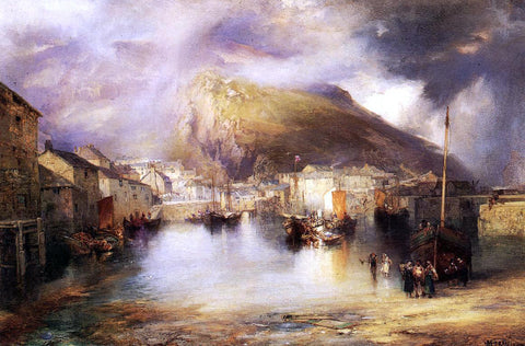 William Penn Morgan An English Fishing Village, Polperro, Cornwall - Hand Painted Oil Painting