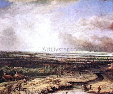 Philips Koninck An Extensive Landscape with a Hawking Party - Hand Painted Oil Painting