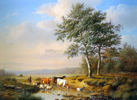 Louis Pierre Verwee An Extensive Landscape with Cattle Watering - Hand Painted Oil Painting