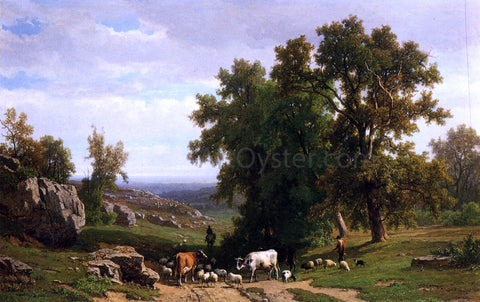 Eugene Verboeckhoven An Extensive Wooded Rocky Landscape with Shepherds and Flock, Cows and a Traveller on a Horseback - Hand Painted Oil Painting