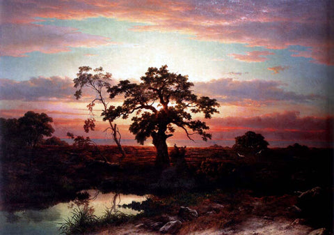 Louwrens Hanedoes An Oak In An Extensive Coastal Landscape At Dusk Near Le Havre - Hand Painted Oil Painting