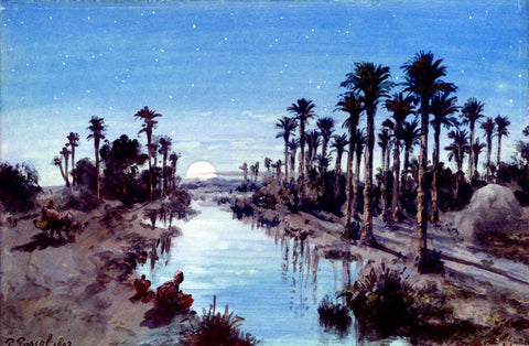 Paul Pascal An oasis at night - Hand Painted Oil Painting