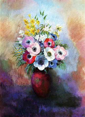 Odilon Redon Anemones - Hand Painted Oil Painting