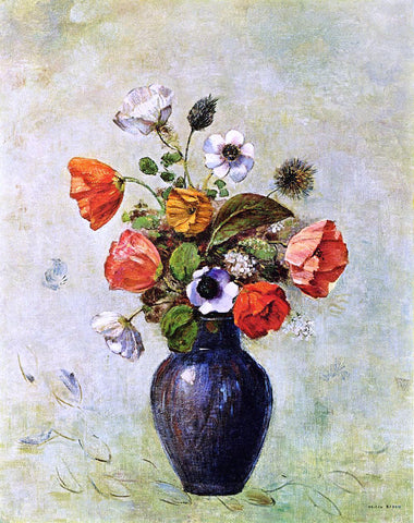 Odilon Redon Anemones and Poppies in a Vase - Hand Painted Oil Painting