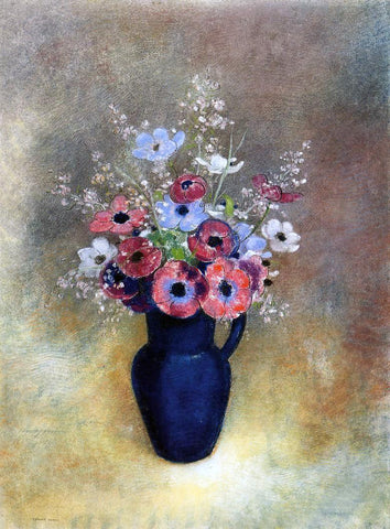 Odilon Redon Anemones in a Jug - Hand Painted Oil Painting