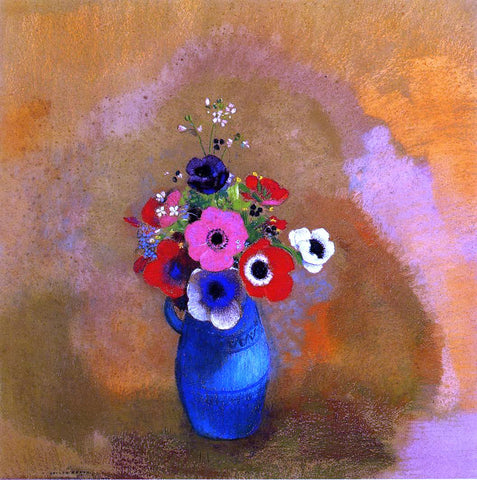 Odilon Redon Anemonies in a Blue Vase - Hand Painted Oil Painting