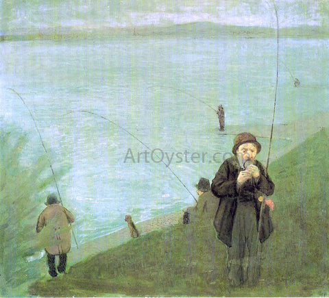 August Macke Anglers on the Rhine - Hand Painted Oil Painting