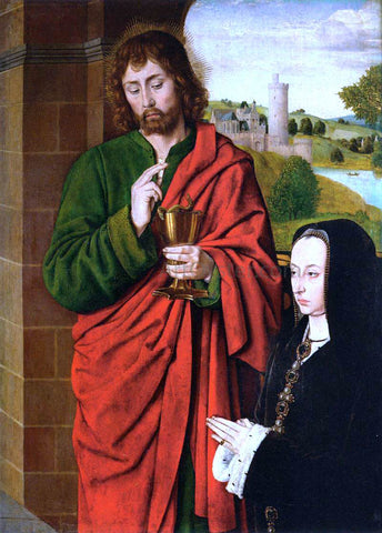 Master of Moulins Anne of France, Duchesse de Bourbon, Presented by St John the Evangelist - Hand Painted Oil Painting