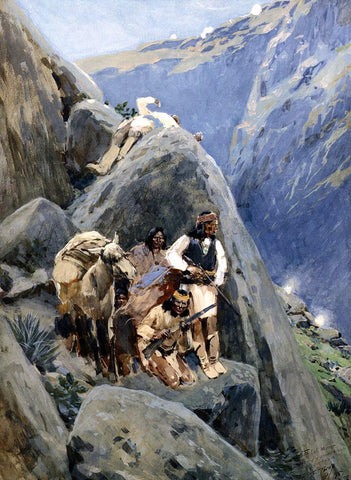 Henry F Farney Apache Indians in the Mountains - Hand Painted Oil Painting
