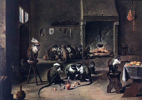 The Younger David Teniers Apes in the Kitchen - Hand Painted Oil Painting
