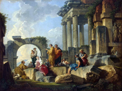 Giovanni Paolo Pannini Apostle Paul Preaching on the Ruins - Hand Painted Oil Painting