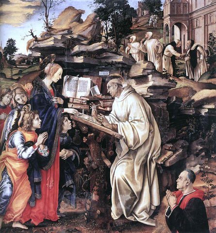 Filippino Lippi Apparition of The Virgin to St Bernard - Hand Painted Oil Painting