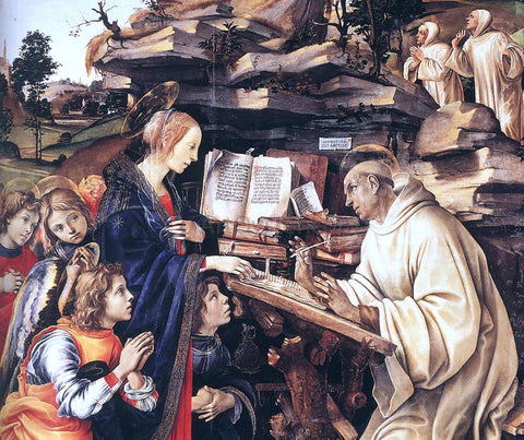 Filippino Lippi Apparition of The Virgin to St Bernard (detail) - Hand Painted Oil Painting