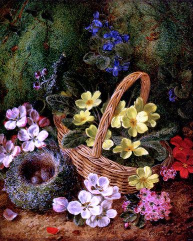 George Clare Apple Blossom And A Bird's Nest On A Mossy Bank - Hand Painted Oil Painting