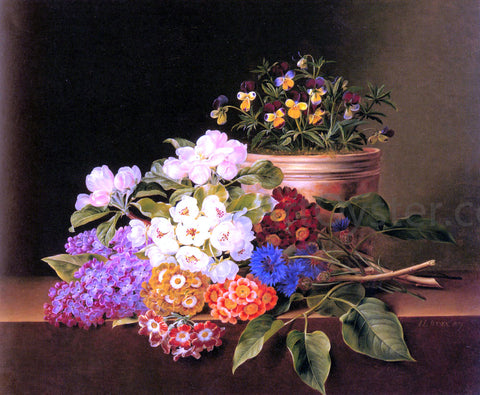Johan Laurentz Jensen Apple Blossoms, Lilac, Violas, Cornflowers and Primroses on a Ledge - Hand Painted Oil Painting