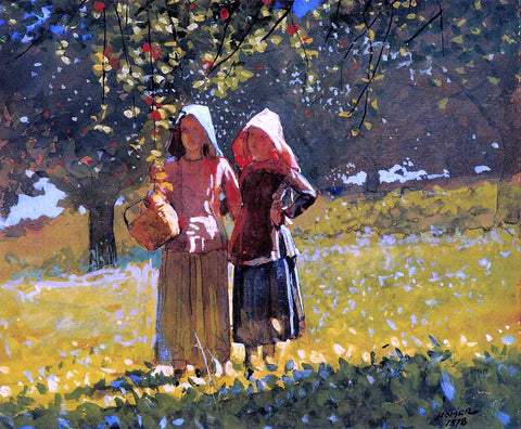 Winslow Homer Apple Picking (also known as Two Girls in sunbonnets or in the Orchard) - Hand Painted Oil Painting