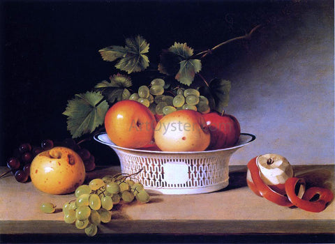 James Peale Apples and Grapes in a Pierced Bowl - Hand Painted Oil Painting