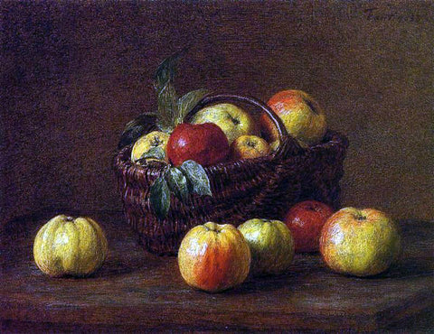 Henri Fantin-Latour Apples in a Basket on a Table - Hand Painted Oil Painting