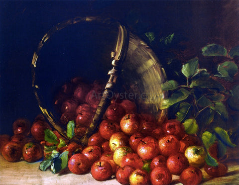 Charles Ethan Porter Apples in an Overturned Basket - Hand Painted Oil Painting