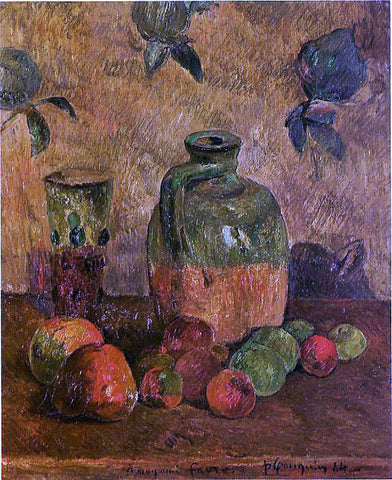 Paul Gauguin Apples, Jug, Iridescent Glass - Hand Painted Oil Painting
