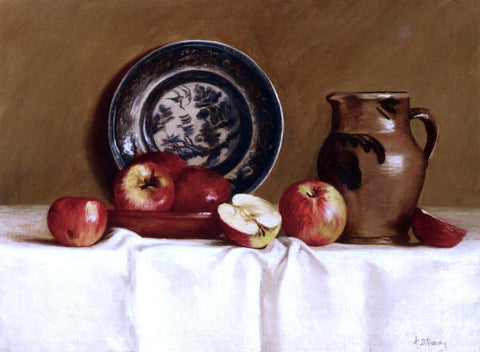Milne Ramsey Apples, Ming Plate and Earthenware Pitcher - Hand Painted Oil Painting