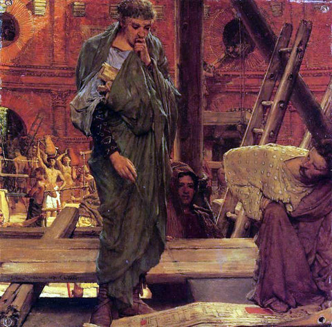 Sir Lawrence Alma-Tadema Architecture in Ancient Rome - Hand Painted Oil Painting