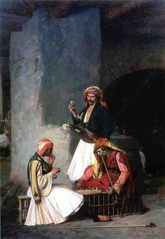 Jean-Leon Gerome Arnauts Playing Chess - Hand Painted Oil Painting
