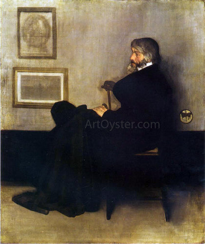 James McNeill Whistler Arrangement in Grey and Black, No.2: Portrait of Thomas Carlyle - Hand Painted Oil Painting