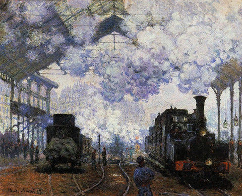 Claude Oscar Monet Arrival at Saint-Lazare Station - Hand Painted Oil Painting
