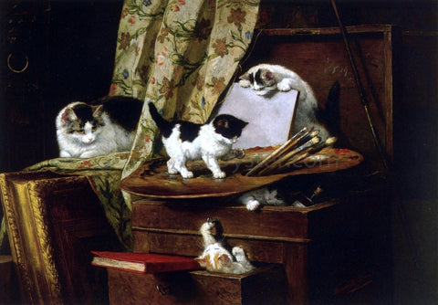 Henriette Ronner-Knip Artful Play - Hand Painted Oil Painting