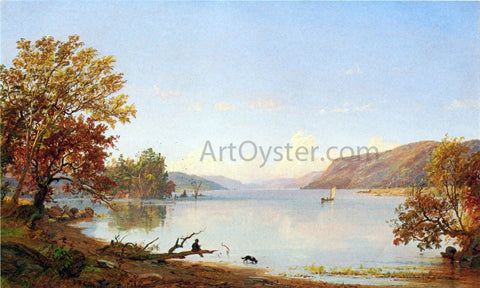 Jasper Francis Cropsey Artist Sketching on Greenwood Lake - Hand Painted Oil Painting