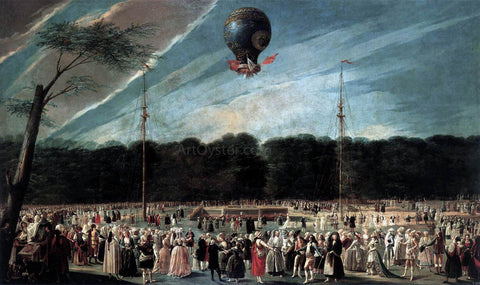 Antonio Carnicero Y Mancio Ascent of the Monsieur Boucle's Montgolfier Balloon in the Gardens of Aranjuez - Hand Painted Oil Painting