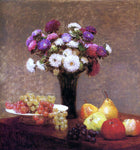 Henri Fantin-Latour Asters and Fruit on a Table - Hand Painted Oil Painting