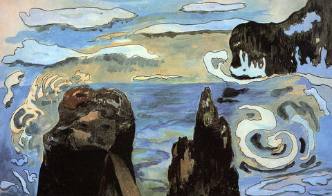 Paul Gauguin At the Black Rocks (also known as Rocks by the Sea) - Hand Painted Oil Painting