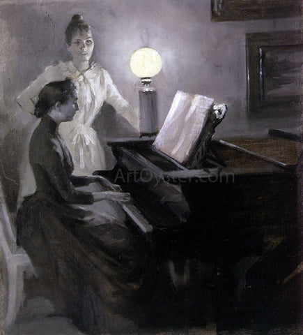 Albert Edelfelt At the Piano - Hand Painted Oil Painting