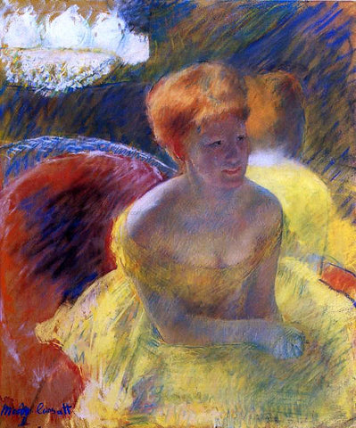 Mary Cassatt At the Theater (also known as Lydia Cassatt Leaning on Her Arms, Seated in a Loge) - Hand Painted Oil Painting