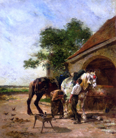 Charles Emile Jacque Attending to the Horses - Hand Painted Oil Painting