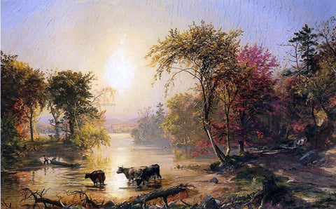 Jasper Francis Cropsey Autumn in America (also known as The Susquehanna River) - Hand Painted Oil Painting