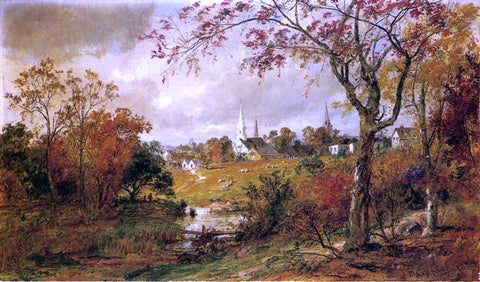 Jasper Francis Cropsey Autumn Landscape - Saugerties, New York - Hand Painted Oil Painting