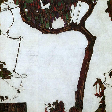 Egon Schiele Autumn Tree with Fuchsias - Hand Painted Oil Painting
