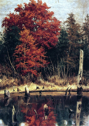 William Aiken Walker Autumn Wood in North Carolina with Tree Stumps in Water - Hand Painted Oil Painting