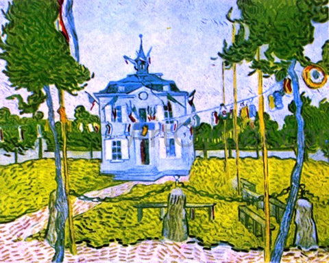 Vincent Van Gogh Auvers Town Hall in 14 July 1890 - Hand Painted Oil Painting