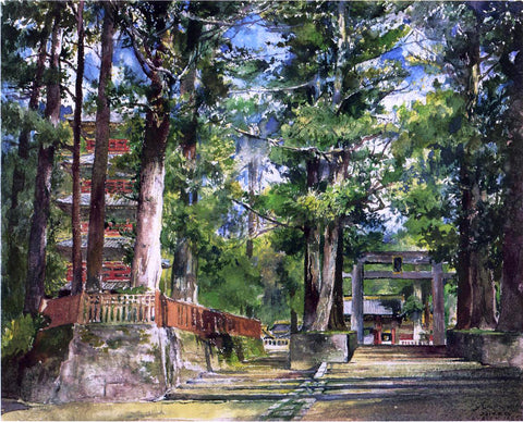 John La Farge Avenue to the Temple of Iyeyasu, Nikko, Mid-Day Study - Hand Painted Oil Painting
