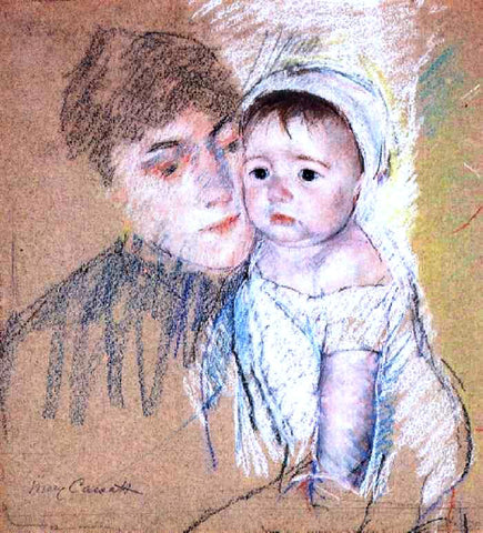 Mary Cassatt Baby Bill in Cap and Shift - Hand Painted Oil Painting