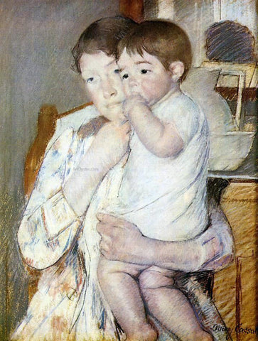 Mary Cassatt Baby in His Mother's Arms, Sucking His Finger - Hand Painted Oil Painting